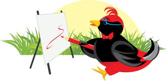 Birdie-artist with easel. First lessons of a painting. Vector illustration Royalty Free Stock Photography