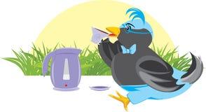 Birdie avec une cuvette et une théière. Thé-boire Photo libre de droits