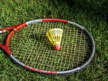 Birdie de badminton dans l'herbe verte Images stock