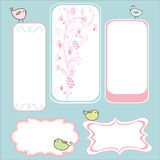 Birdie frame. S (labels) , with hand drawn floral patterns Stock Images