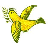 Birdie. Hand drawn, , illustration in Ukrainian folk style Royalty Free Stock Images