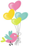 Birdie holding a heart-shaped balloons Stock Images