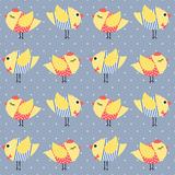 Birdie seamless pattern polka dots background. Stock Photography