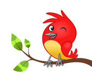 Birdie on tree branch. Red cheerful birdie on the tree branch isolated Royalty Free Stock Image