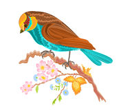 Birdie on a twig rosehip bushes. Vector illustration without gradients Royalty Free Stock Image