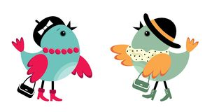 Birdies à la mode Images libres de droits