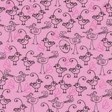 Birdies and Chicks-Birdies Doodles Seamless Repeat Pattern. stock illustration