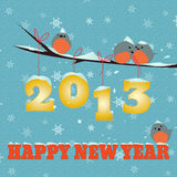 Birdies Happy new year 2013. Little  birdies on branch and snowy 2013 happy new year text Stock Photo
