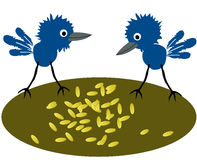 Birdies pecking grain. Two birdies pecking spilt grain stock illustration