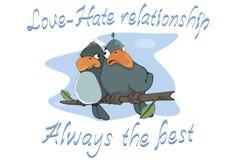 Birdies. Postcard. Cartoon Royalty Free Stock Image