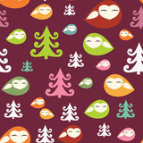 Birdies in the wood seamless christmas pattern Royalty Free Stock Photo