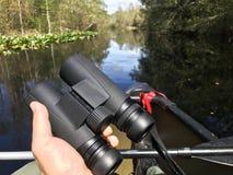 Birding with binoculars from a canoe in Okefenokee Swamp Georgia. A pair of binoculars in hand while birding on a lake in the Okefenokee Swamp Stephen C Foster royalty free stock image