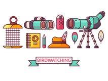 Birding und Birdwatching Vogelkunde-Ikonen Vektor Abbildung