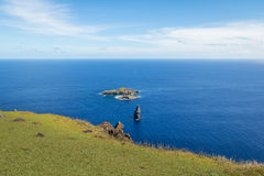 The Birdman Island near Orongo Ruins - Easter Island, Chile royalty free stock image