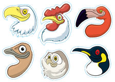 Birds 1. A series of magnet like stickers of birds heads Stock Photography