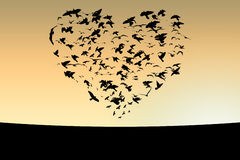 Birds. Illustration of flight of birds in the sky in the form of heart royalty free illustration