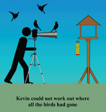 Birds. Kevin could not work out where all the birds had gone Stock Illustration