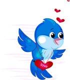 Birds. Beautiful little bird with heart Stock Image