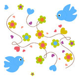 Birds. Colorful illustration witrh birds and bright flowers stock illustration