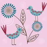 Birds. Abstract floral background with birds vector illustration