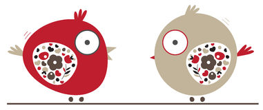 Birds. Simple Cute little birds with abstract floral wings, vector Stock Image