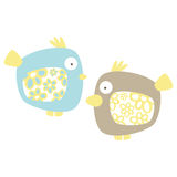Birds. Simple Cute little birds with floral wings, vector Royalty Free Stock Image