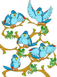 Birds. Sitting on a tree little birds.They are blue, cartoon, and cheerful.Additionally, a vector EPS format Royalty Free Stock Images