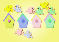 Birds. Little birds and multi coloured home illustration Royalty Free Stock Photos