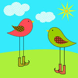 Birds. Cute birds in the summer fields Stock Illustration