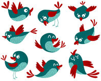 Birds. Cute birds set, vector illustration Royalty Free Stock Photography