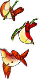 Birds. A illustration, vector for three variety view of birds Stock Photography