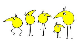 Birds. Five yellow birds on white background. vector illustration Stock Photography