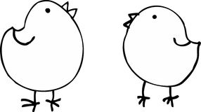 Birds. Two birds on white background. vector illustration Stock Photos