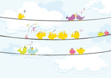 Birds. Illustration of birds singing while perched on a wire Stock Photography