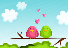 Birds. Cute  illustration with birds falling in love Stock Photography