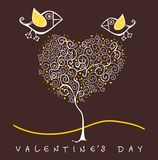 Birds above  trees holding heart, Valentine's Royalty Free Stock Image