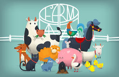 Birds and animals near farm gates. Vector illustration card with farm animals and birds standing near gates inviting to visit a farm yard Royalty Free Stock Images