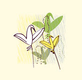 Birds as flowers. Invitation, greeting, postcard d Royalty Free Stock Photos