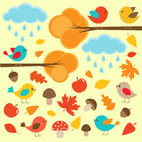 Birds in autumn forest Stock Photo