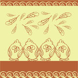 Birds background with feathers. Hand drawing, line art, cartoon vector illustration