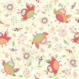 Birds background. Seamless pattern with birds and flowers Royalty Free Stock Photo