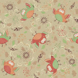 Birds background. Seamless pattern with birds and flowers Royalty Free Stock Photography