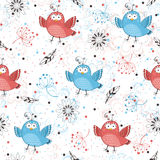 Birds background. Seamless pattern with birds and flowers. vintage cartoon background Royalty Free Stock Photography