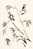 Birds on bamboo and mushroom on ivory Stock Image