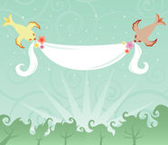 Birds and a Banner royalty free stock image
