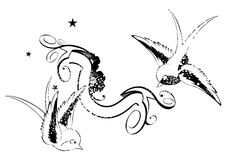 Birds and banner. Line drawing of two birds and a banner on a white background Stock Images