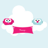 Birds with banner in cloud. Illustration of blue and pink cartoon birds holding blank banner in sky with white cloud background and copy space Stock Photo