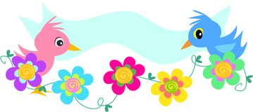 Birds Banner with Spiral Flowers Royalty Free Stock Image