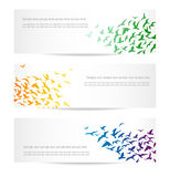 Birds banners. Set of three banners with flocks of birds Royalty Free Stock Images