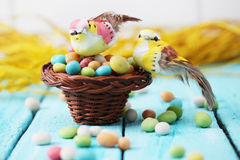 Birds in a basket Stock Photos